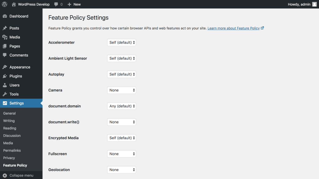 Screenshot of the settings admin screen from the Feature Policy plugin for WordPress