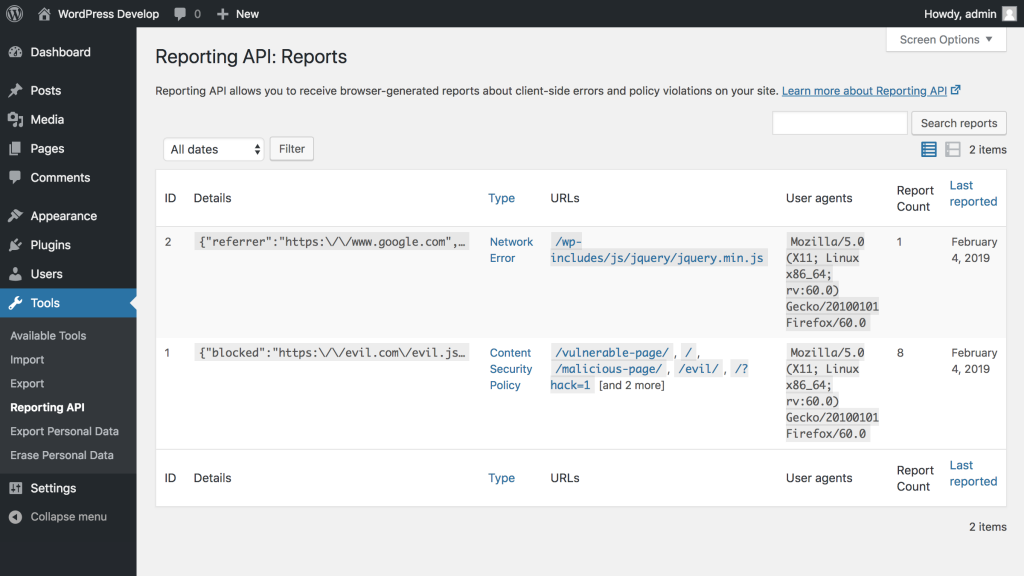 Screenshot of the reports list admin screen from the Reporting API plugin for WordPress