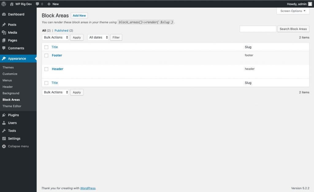 The Block Areas plugin admin page