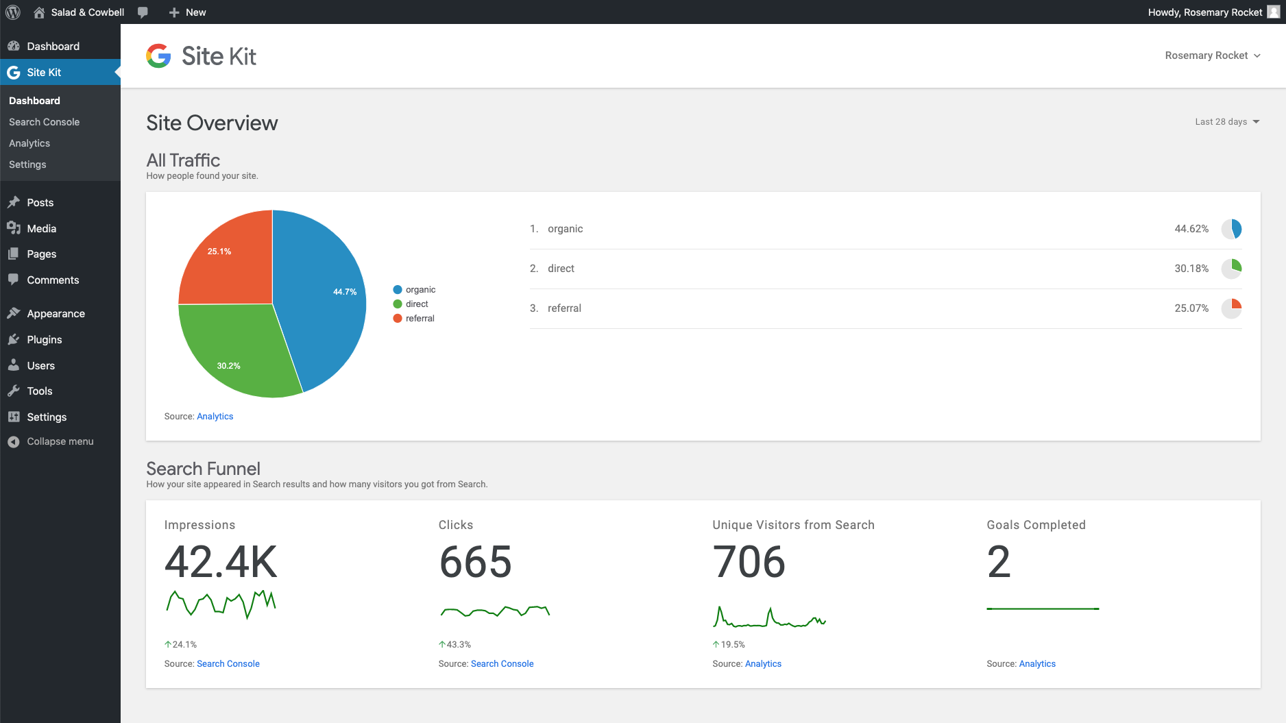 Site Kit by Google Dashboard