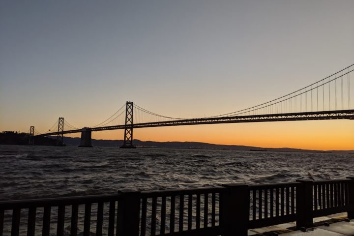 Sunrise behind the San Francisco Bay Bridge