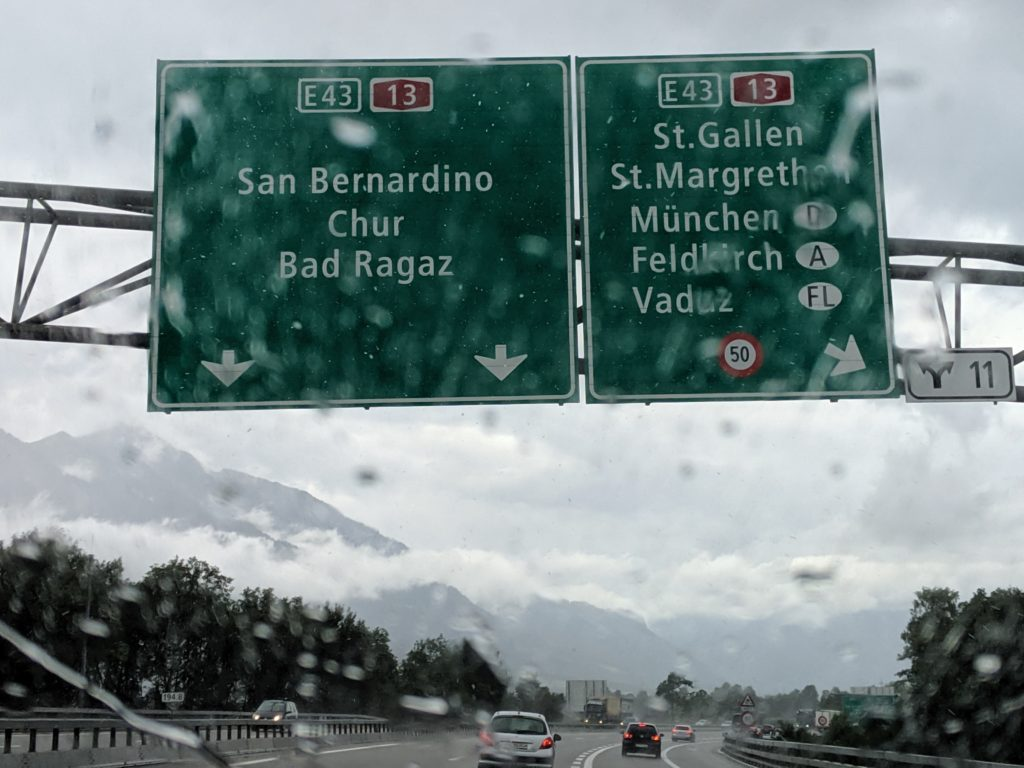 Street sign to San Bernardino in Switzerland