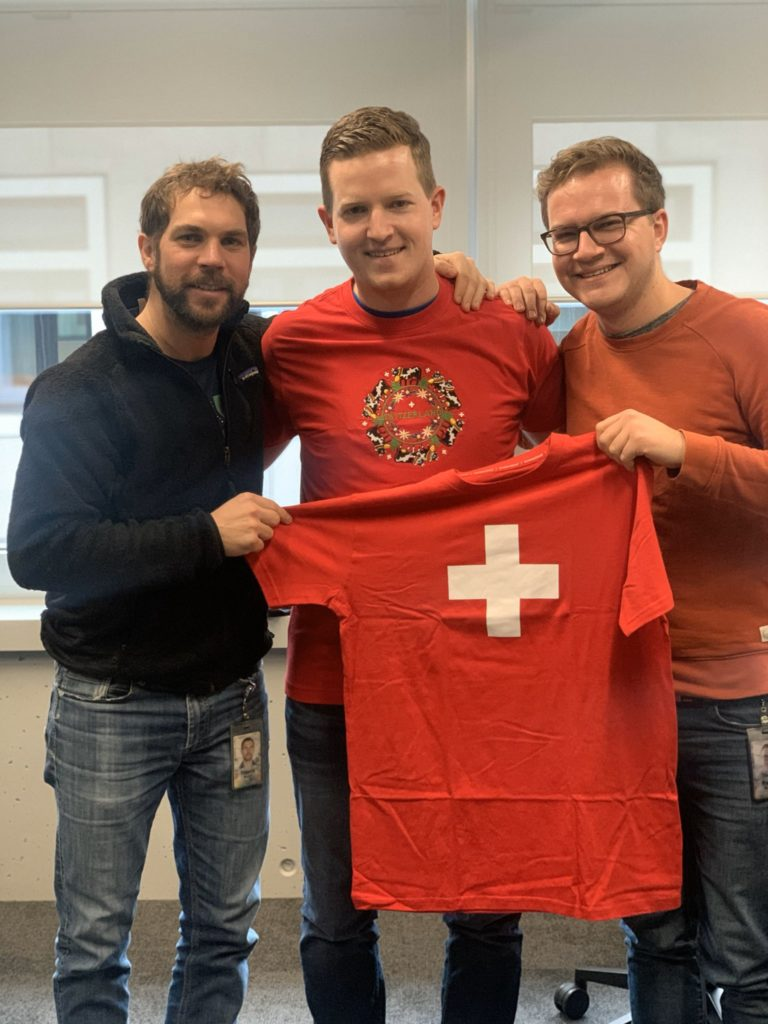 Thierry, me, and Pascal with the ugly Switzerland shirts I got